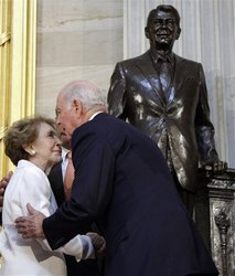 Nancy (Cancer), Jim Baker (Taurus), Reagan (Aquarius) Statue